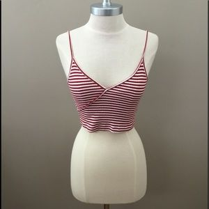 Topshop Red/White Striped Crop Top